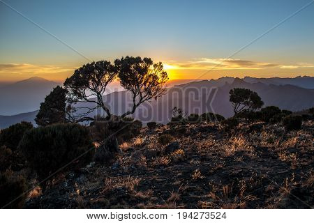 Mount Meru view from Kilimanjaro Machame route trail