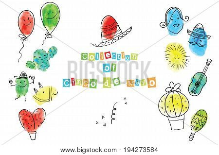 Greeting card of the Cinco de Mayo Day. Fingerprint Art collection of prints of fingers and paint the outlines of characters of humans. Vector illustration of a creative.