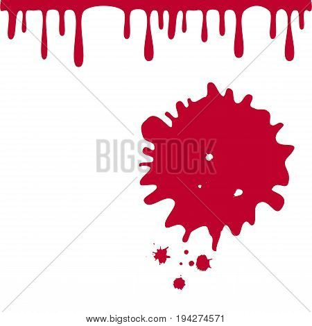 Blood drops isolated on white background for Spain fiestas or festivals abstract poster design. Dripping Blood drops splash Vector illustration.
