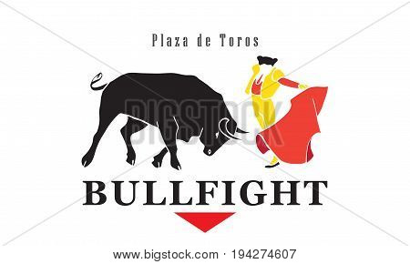Bullfight poster. Spain fiestas or festivals abstract banner Bullfight Festivals. The running of the bulls is the main attraction fiesta. Vector illustration. Advertising