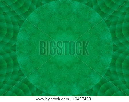 Green emerald metal texture kaleidoscope pattern abstract round background. Abstract kaleidoscope texture background. Metal kaleidoscope fractal pattern geometrical symmetrical ornament green ice