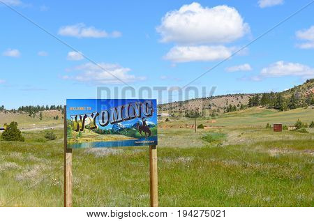 WESTON COUNTY, WYOMING - JUNE 23, 2017: Wyoming Welcome Sign. The sign is posted US16 near the border of South Dakota and Wyoming.