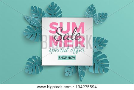 Summer sale banner with paper cut frame and tropical plants on green background floral design for banner flyer invitation poster web site or greeting card. Paper cut style vector illustration