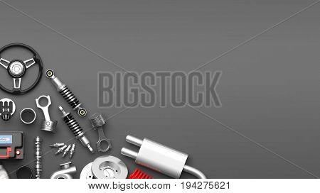 Various car parts and accessories, isolated on gray background. 3d illustration