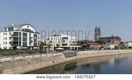 MAGDEBURG, GERMANY - SEPTEMBER 01, 2016: Panorama of the City of Magdeburg with the Banks of the River Elbe. In the Background is the Magdeburg Cathedral