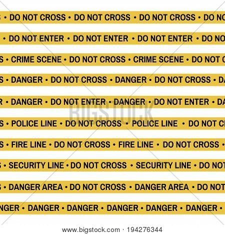Set Of Crime Scene Yellow Tape, Police Line, Danger, Fire, Do Not Cross Tape. Cartoon Flat-style. Ve