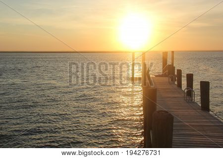 A dock in Brigantine near Atlantic City, New Jersey at sunset