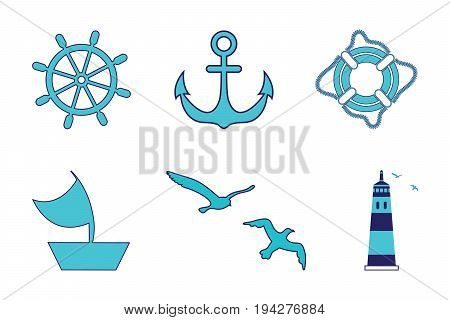 Sea set, lighthouse, steering wheel, sailing ship, life ring, anchor, gulls. All objects are made in a vector. Each of them separately on a white background isolated.