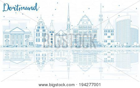 Outline Dortmund Skyline with Blue Buildings and Reflections. Business Travel and Tourism Concept with Historic Architecture. Image for Presentation Banner Placard and Web Site.