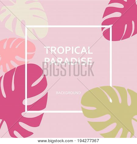 Tropical Paradise Paper Labels On The Background Of The Leaves Of Palm Trees. Fashionable Design Tro
