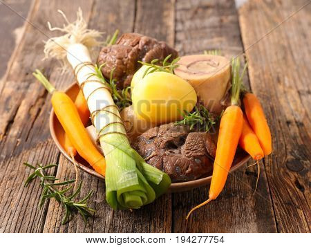 pot au feu, beef stew with vegetable and broth