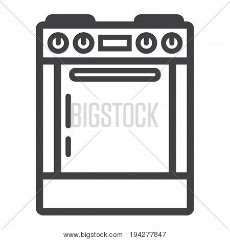 Gas stove line icon, kitchen and appliance, electric range vector graphics, a linear pattern on a white background, eps 10.