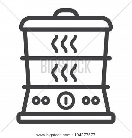 Food Steamer line icon, kitchen and appliance, vector graphics, a linear pattern on a white background, eps 10.
