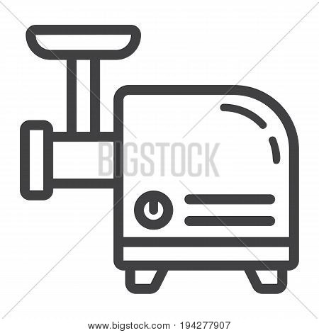 Meat Grinder line icon, household and appliance, vector graphics, a linear pattern on a white background, eps 10.