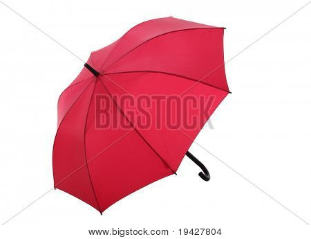 red open umbrella on a white background