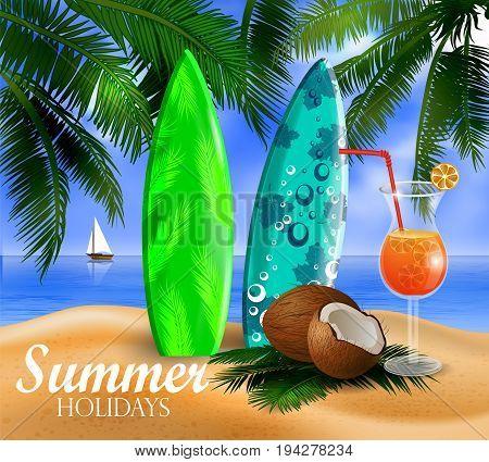 surfboards on a beach against a sunny seascape cocnut and palms Vector