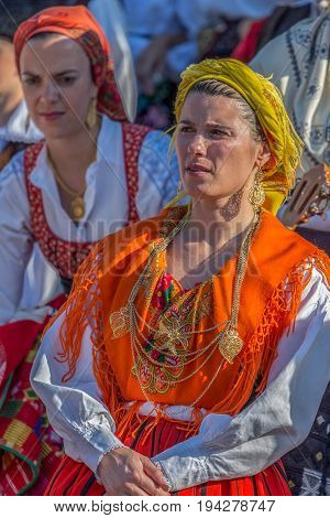TIMISOARA ROMANIA - JULY 6 2017: Mature dancer women from Portugal in traditional costume present at the international folk festival