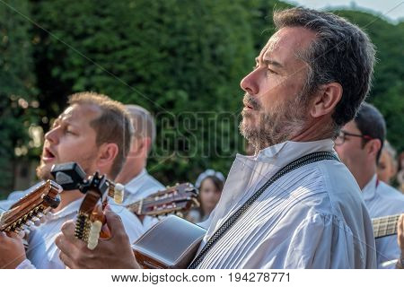 TIMISOARA ROMANIA - JULY 6 2017: Singers from Spain in traditional costume present at the international folk festival