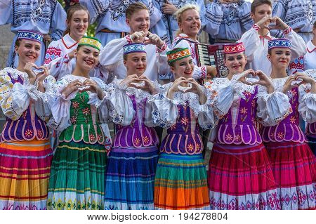 TIMISOARA ROMANIA - JULY 6 2017: Young dancers from Belarus in traditional costume present at the international folk festival