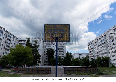 Yoshkar-Ola Russia - June 29 2017 Photo of the old children's basketball shield on the playground in Yoshkar-Ola Russia