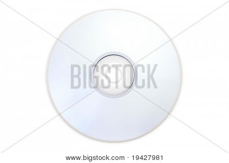 DVD disc shot without the blue rainbow glare. Can be used as both top side and bottom side of disc. Isolated on pure RGB255 white.