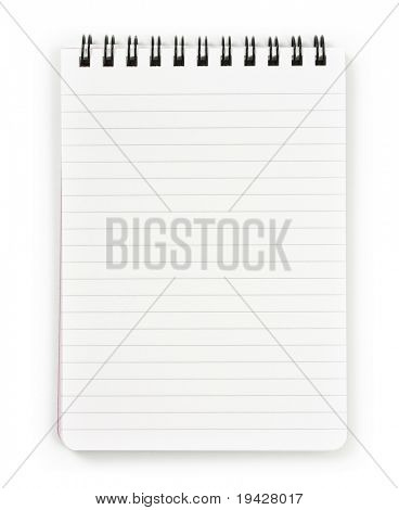 Vertical notebook with black spiral, isolated on pure white.