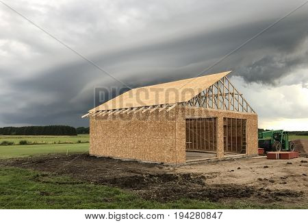 Detached Garage in the construction phase of being built
