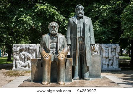 Sculpture Of Karl Marx And Friedrich Engels Near Alexanderplatz In Berlin