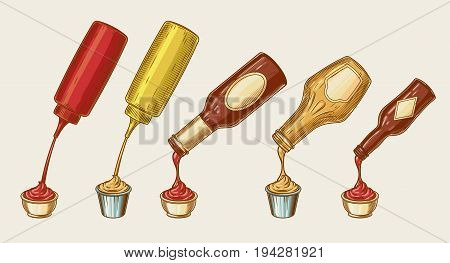 Vector illustration of an engraving style set of different sauces are poured from bottles into bowls. Ketchup, mayonnaise, mustard, chilli sauce and others