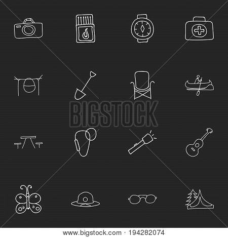 Set Of 16 Editable Travel Icons. Includes Symbols Such As Beauty Insect, Wrist Clock, Shovel And More. Can Be Used For Web, Mobile, UI And Infographic Design.