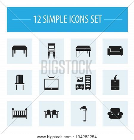 Set Of 12 Editable Furnishings Icons. Includes Symbols Such As Plant Pot, Seat, Trestle And More. Can Be Used For Web, Mobile, UI And Infographic Design.