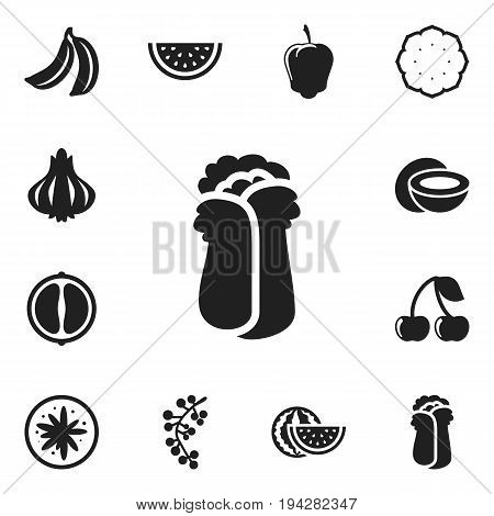 Set Of 12 Editable Cookware Icons. Includes Symbols Such As Orange Slice, Exotic Dessert, Sweet Pepper And More. Can Be Used For Web, Mobile, UI And Infographic Design.