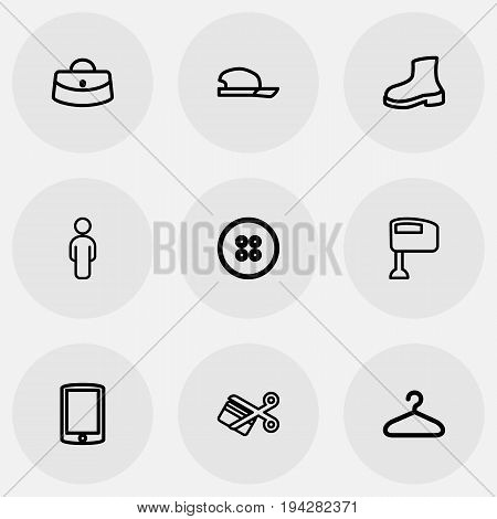 Set Of 9 Editable Business Icons. Includes Symbols Such As Hat, Cutting, Hanger And More. Can Be Used For Web, Mobile, UI And Infographic Design.