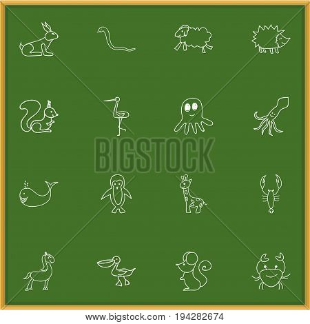 Set Of 16 Editable Zoology Icons. Includes Symbols Such As Chipmunk, Cachalot, Lobster And More. Can Be Used For Web, Mobile, UI And Infographic Design.