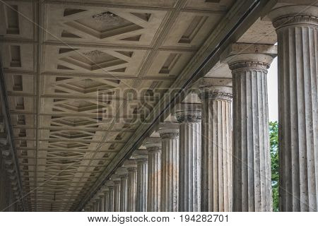 Historic Architecture, Columns At The Old National Gallery In Berlin