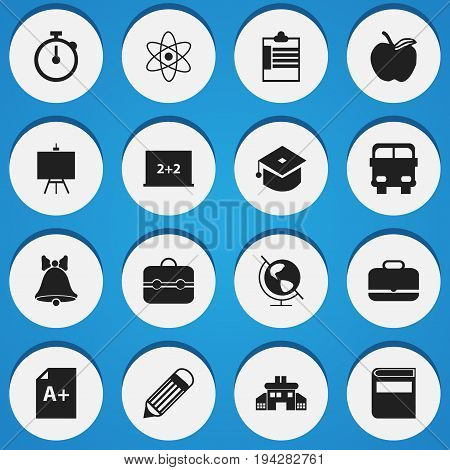 Set Of 16 Editable School Icons. Includes Symbols Such As Jingle, Molecule, Portfolio And More. Can Be Used For Web, Mobile, UI And Infographic Design.