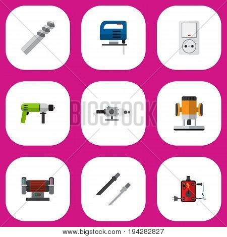 Set Of 9 Editable Electric Icons. Includes Symbols Such As Fretsaw, Jig Saw, Auger And More. Can Be Used For Web, Mobile, UI And Infographic Design.