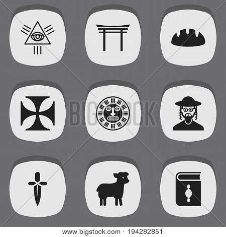 Set Of 9 Editable Religion Icons. Includes Symbols Such As Sacrifice Sheep, Shinto, Poniard And More. Can Be Used For Web, Mobile, UI And Infographic Design.