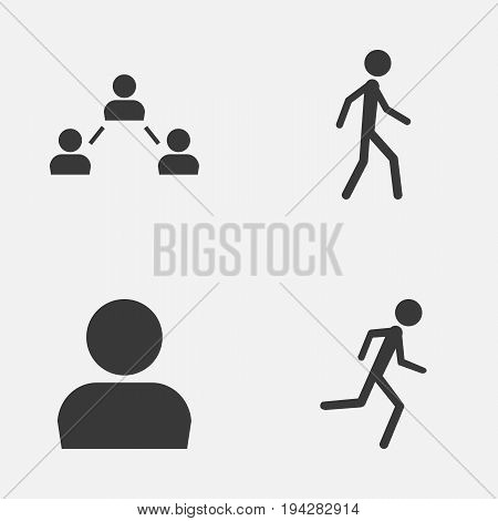 Person Icons Set. Collection Of Running, User, Jogging And Other Elements. Also Includes Symbols Such As Network, Avatar, Walking.