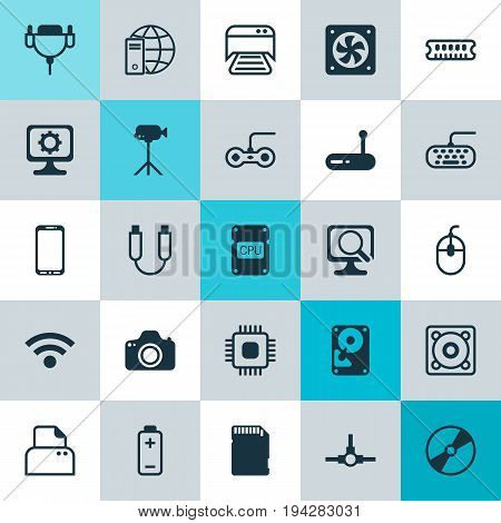 Hardware Icons Set. Collection Of Wireless, Printed Document, Joystick And Other Elements. Also Includes Symbols Such As Dvd, Vga, Mobile.