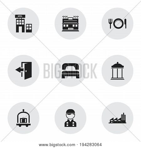 Set Of 9 Editable Plaza Icons. Includes Symbols Such As Dishes, Outlet, Residence And More. Can Be Used For Web, Mobile, UI And Infographic Design.