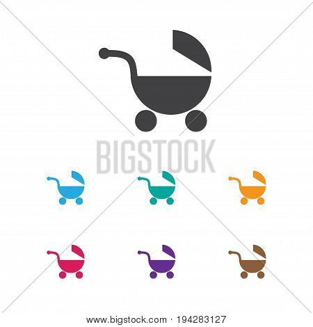 Vector Illustration Of Kid Symbol On Baby Pram Icon. Premium Quality Isolated Stroller  Element In Trendy Flat Style.