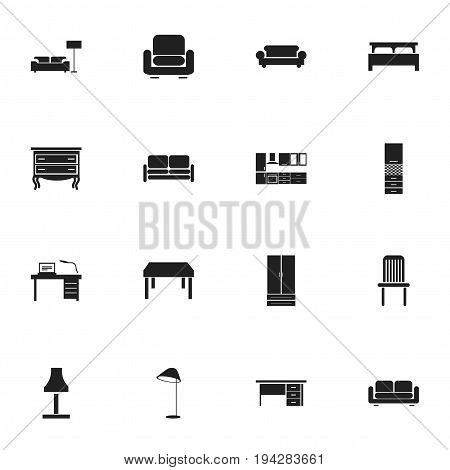 Set Of 16 Editable Furnishings Icons. Includes Symbols Such As Stillage, Bearings, Material Cupboard And More. Can Be Used For Web, Mobile, UI And Infographic Design.