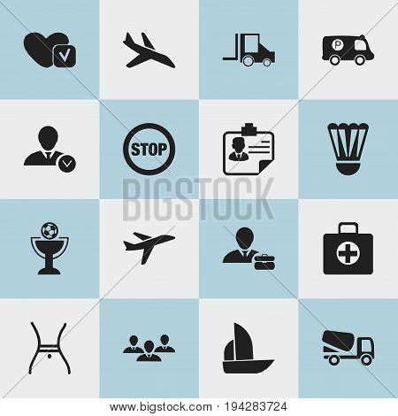 Set Of 16 Editable Complicated Icons. Includes Symbols Such As Badminton Ball, Yacht, Police Vehicle And More. Can Be Used For Web, Mobile, UI And Infographic Design.