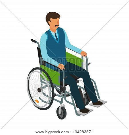 Man sits in wheelchair. Invalid, disabled, cripple icon or symbol. Cartoon vector illustration isolated on white background