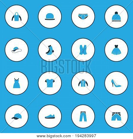 Clothes Colorful Icons Set. Collection Of Vest, Heels, Beanie And Other Elements. Also Includes Symbols Such As Breeches, Socks, Tunic.
