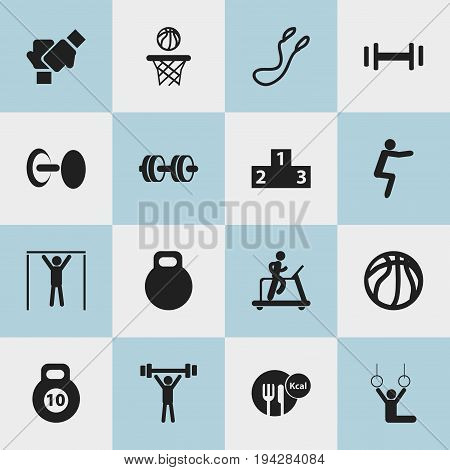 Set Of 16 Editable Exercise Icons. Includes Symbols Such As Platform For Winner, Strength, Gauntlet And More. Can Be Used For Web, Mobile, UI And Infographic Design.