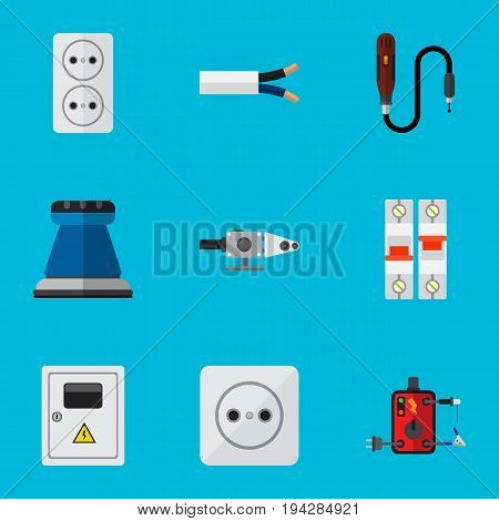 Set Of 9 Editable Electric Icons. Includes Symbols Such As Blowpipe, Cable, Socket And More. Can Be Used For Web, Mobile, UI And Infographic Design.