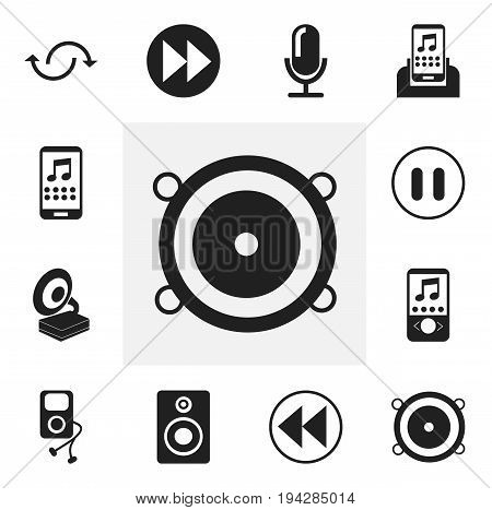 Set Of 12 Editable Music Icons. Includes Symbols Such As Backward, Audio Bass, Bass Speakers And More. Can Be Used For Web, Mobile, UI And Infographic Design.