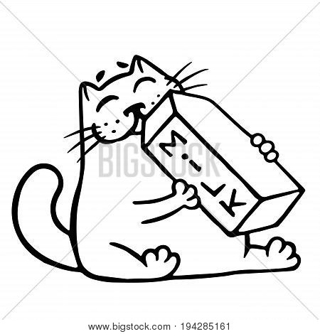 Cartoon cat is drinking milk. Funny cartoon cool character. Contour freehand digital drawing cute cat. White color background. Cheerful pet for web icons and shirt. Isolated vector illustration.
